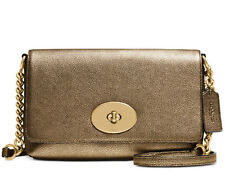 COACH 36335 Metallic Pebble Leather Crosstown Crossbody Bag Light Gold/Gold NEW