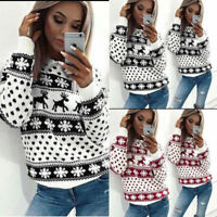 Womens Cotton Print Knitwear Jumper Long Sleeve Sweater Tops Blouse Pullover