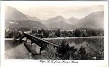 RPPC HOPE, BC Canada  BIRDSEYE VIEW & Bridge- from FRASER RIVER c1940s Postcard
