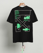 OFF WHITE OW Green square arrow print Short Sleeve tee Top Unisex casual T-Shirt