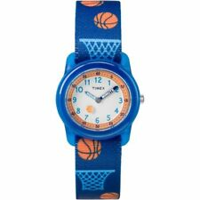 Kids Timex Time Teacher Basketball Blue Elastic Fabric Band Watch TW7C16800