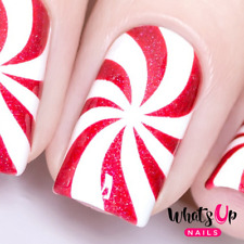 Peppermint Candy Stencils for Nails, Christmas Nail Stickers, Nail Vinyls