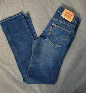 🍁🍂 LEVI 511 SLIM Dark Wash Boys Designer Jeans 14y W26 L29 VGC £30rrp