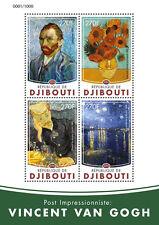 Gibuti 2016 MNH Vincent Van Gogh 4V M / S GIRASOLE Gachet ARTE DIPINTI STAMPS
