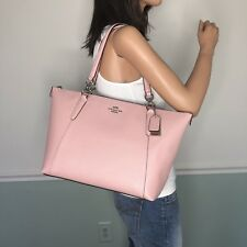 NEW! COACH Saffiano Leather Zip Top Tote Shoulder Bag Pink Blush