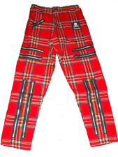 "Red Tartan Zip Punk Trousers. Bondage Pants Goth 30"" waist"