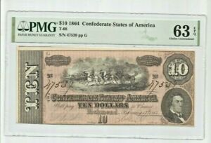 1864 $10 DOLLAR CONFEDERATE STATES CURRENCY  T-68, 6 Series PMG 63