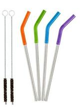 "4-pk 8 1/2"" Stainless Steel Straws w 2 Cleaners & Color Sleeves FAST SHIP! G56"