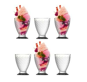 6 x Ice Cream Sundae Glasses Footed Glass Prawn Cocktail Bowls Fruit Dishes
