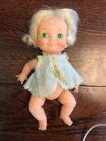 VINTAGE Ideal toy Corp Baby Girl Doll With Blonde Hair Belly Button Doll1970
