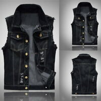 Black Men's Punk Denim Vest Jeans Jacket Waistcoat Sleeveless Slim Fit Tops UK