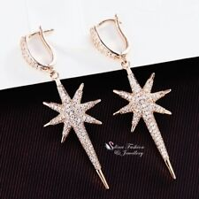 18K Rose Gold Filled Simulated Diamond Studded Stylish Punk Star Huggie Earrings