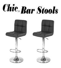 """Chic Contemporary """"Leather"""" Swivel Bar Stools - Set of 2"""