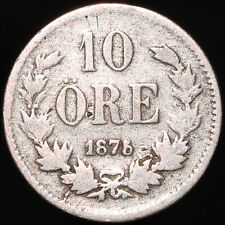 More details for 1875 st | sweden oscar ii 10 ore | silver | coins | km coins