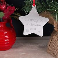 Personalised Christmas Tree Decoration Mirror Babys First Xmas Star Bauble Gift