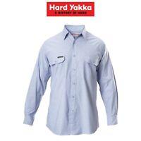 Mens Hard Yakka Long Sleeve Chambray Light Business Cotton Work Shirt Y07528