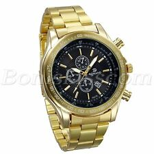 Mens Luxury Gold Tone Sports Casual Stainless Steel Band Date Quartz Wrist Watch