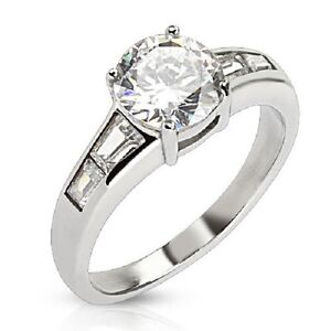 Stainless Steel 2 Carat CZ Solitaire with Emerald Cut side Gems