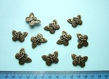 PENDANTS or CHARMS / Antique Bronze Metal / BUTTERFLY / Pack of 10 / NiCKEL FREE