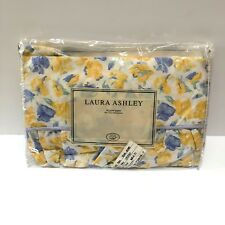 Laura Ashley Charlotte Ruffled Pillow Sham Case King Floral Yellow Blue Cottage