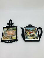 Vintage Seven Star Ceramic Tile Cast Iron Kitchen Trivet KNOTT'S Berry Farm Cali