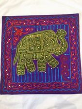 "INDIAN ELEPHANT SEQUIN HAND EMBROIDERED PURPLE CUSHION COVER 17"" X 17"" ONE ONLY"