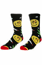 The Odd Couple The Happy 4/20 Sock in Black Weed Pills Smiley face