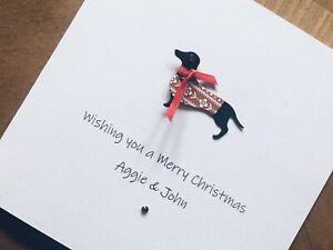 Personalised Handmade Christmas Cards - Sausage Dog / Dachshund 13.5cm X 13.5cm