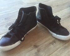 Converse Black Leather White Rubber High Top Lace Up Sneakers Shoes 7 US / 5 UK