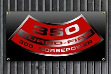 350 turbo fire vinyl Garage Banner Hot Rod print Man Cave Can be customized