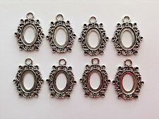 SILVER TONE OVAL FRAME SETTING FOR PICTURE / CAMEO can take RHINESTONES x 8