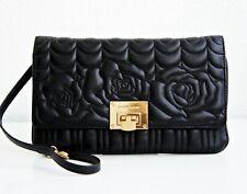 Michael Kors Bag Vivianne Flora Quilited LG Clutch Leather Black New