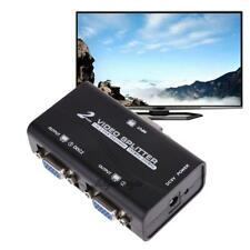 1 to 2 250MHz HD VGA Signal Splitter Booster Video Amplifier Sharing Box for PC