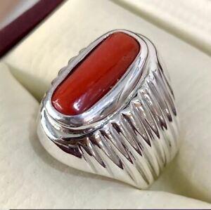 Mens Coral Ring 925 Silver Marjan Ring Handmade Coral Ring Coral Gemstone Ring