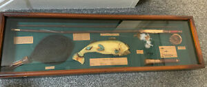 Vintage Rainbow Trout Fishing Wall Mounted Ornamental Wooden Glass Display Case