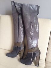 Malo Designer au-dessus du genou, en daim gris et gris Bottes en cuir, Taille UK 4, 37