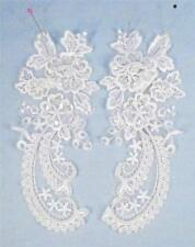 2 Schiffli Lace Appliques for Wedding Gown Bridal Clear Sequins Imitation Pearl