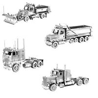 SET of 4 Metal Earth Freightliner Long Nose COE Dump Snow Plow Truck Model Kits