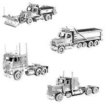 SET of 4 Metal Earth Freightliner Long Nose COE Dump Snow Plow Truck Model Kits