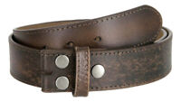"Vintage Distressed Style Genuine Leather Belt Strap 1-1/2"" Wide, Dark Brown"