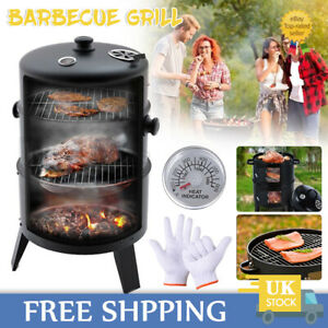 3 IN 1 CHARCOAL SMOKER BBQ GRILL WITH THERMOMETER PATIO CAMPING BARBECUE OUTDOOR