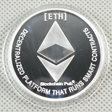 Silver Plated Commemorative Collectible Golden Iron ETH Ethereum Miner Coin NEW