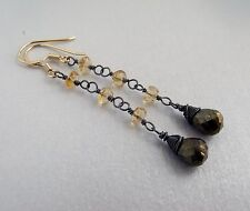 BRONZE SPINEL AND CITRINE BLACK RHODIUM STERLING SILVER EARRINGS - FREE POSTAGE