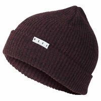Neff Men's Fold Heather Beanie Sangria Black Burgundy Headwear Cold Snow Winter