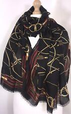 Designer Inspired Scarf Pashmina Black Gold Oversized Soft Feel Chain Print NEW