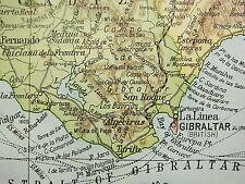 1919 LARGE MAP ~ SOUTH WEST SPAIN ~ STRAIT OF GIBRALTAR CADIZ SEVILLE PORTUGAL