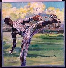Satchel Paige original acrylic on board Art by Eric Ayers baseball HOF Negro Lea