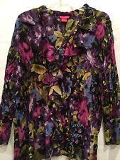 7d10a54e63b Sunny Leigh Womens Boho Top 2X Button Down Purple Black Floral Ruffles  Pleated