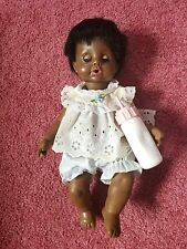 Vintage 1984 Ideal Tiny Tears Doll - Black - With Bottle and Original Clothes