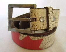 VG+ EXTRAORDINARY RED & CREAM GENUINE LEATHER BELT MARKED 32